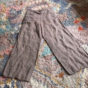 FLAX high rise wide leg linen pants